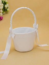 weißen Satin Hochzeit Blumenkorb mit bowknot Blumenmädchen Korb