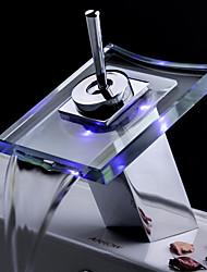 Waschbecken Wasserhahn Farbwechsel LED Wasserfall Glas Auslauf