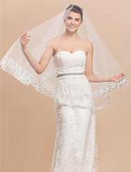 Hermosa 1 capa velo de novia de la yema del dedo con el cordón Applique Edge