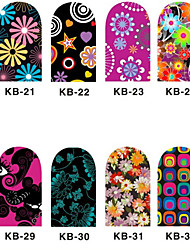 12PCS 3D Full-couvrir Nail Art Stickers Cartoon Series de fleurs (n ° 4, couleurs assorties)