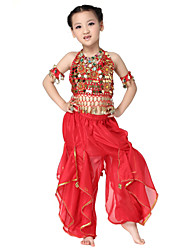 Performance Dancewear Chiffon with Coins and Flower Belly Dance Outfit Top and Bottom For Children