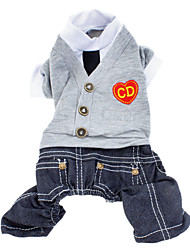 Dog Clothes/Jumpsuit Dog Clothes Fashion British Jeans Hearts Gray