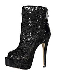 Elegant Lace Stiletto Heel Peep Toe / Sandals Ankle Boots Party / Evening Shoes