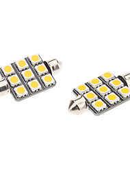 Girlande 41mm 1.5W 9x5050SMD Warm White Light LED für Auto-Leselampe (12V, 1-Pair)