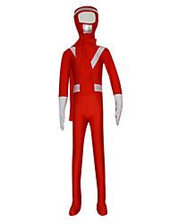 le zentai de gardes rouges du corps entier spandex enfant avec un foulard (6-8 ans)