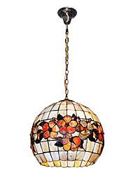 80W Vintage Tiffany lumière pendante avec Colorful Matériel de Shell Shade intégré Globe