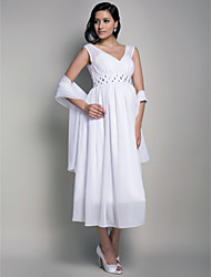 Homecoming Formal Evening/Wedding Party/Cocktail Party Dress - White Maternity Sheath/Column V-neck Tea-length Chiffon