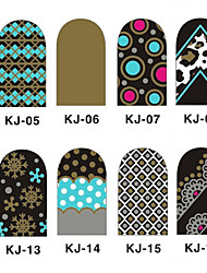 12PCS 3D полным покрытием ногтей Наклейки внезапный порошок серии (№ 3, разных цветов)