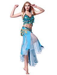 Performance Dancewear Crystal Cotton with Sequins Belly Dance Outfit For Ladies