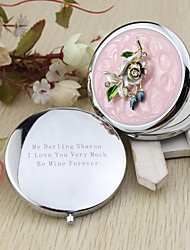 Personalized Pretty Flower Chrome Compact Mirror Favor