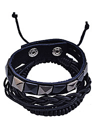 rivet lureme®vintage perle en bois relié bracelet tissé (noir)