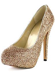 Damenschuhe - High Heels - Kleid - Leder - Stöckelabsatz - Absätze / Plateau - Champagner