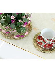 Набор из 6 Элегантный европейский цветочный узор Поли / хлопок Подставки