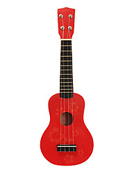 Kid s Flower Pattern Plywood Soprano Ukulele (Rød)