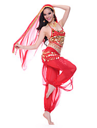 Performance Dancewear Tulle Belly Dance Veil and Top and Belt and Bottom For Ladies More Colors