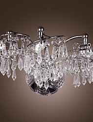 6 - Light Stainless Steel LED Wall Lights with Crystal Drops