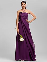 Lanting andar de comprimento chiffon dama de honra vestido - de uva mais tamanhos / bainha petite / strapless coluna