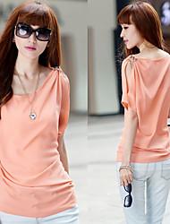 Women's Solid Black/Beige/Blue Blouse/Shirt Short Sleeve