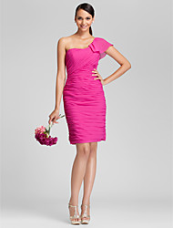 Knee-length Chiffon Bridesmaid Dress - Fuchsia Plus Sizes / Petite Sheath/Column One Shoulder
