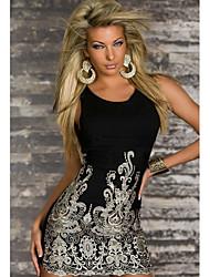 Chic Gold Embroidered Lace Tank Dress Black(Bust:86-102cm Waist:58-79cm  Hip:90-104cm Length:68cm)