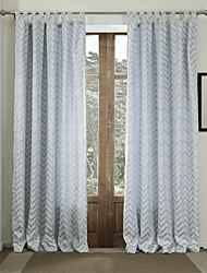 Two Panels  Geometric Classic Jacquard Energy Saving Curtain