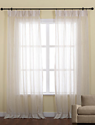 Two Panels  Neoclassical Jacquard Stripe Sheer Curtain