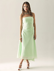Tea-length / Asymmetrical Chiffon Bridesmaid Dress Sheath / Column Strapless Plus Size / Petite with Ruffles / Ruching