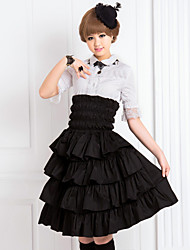 Skirt Classic/Traditional Lolita Lolita Cosplay Lolita Dress Black Solid Half-Sleeve Medium Length Skirt For Women Cotton
