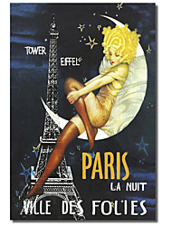 Printed Canvas Art Vintage Paris Moon by Vintage Apple Collection with Stretched Frame