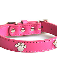 Dog Collar Adjustable/Retractable / Footprint/Paw / Soft Red / Blue / Brown / Pink Genuine Leather