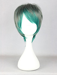 Zipper Short Green and Gray Mixed Color 32cm Boy Style Lolita Wig