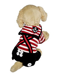 Dog Clothes/Jumpsuit Red / Black Spring/Fall Nautical / Stripe