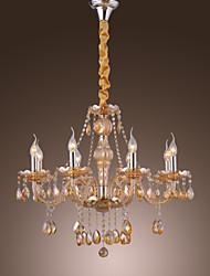 Retro elegante lustre 8 luzes de velas recurso Âmbar Cristal