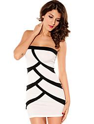 Bandeau das mulheres mini vestido preto-branco (Busto :86-102 centímetros Cintura :58-79cm Hip :90-104 centímetros Comprimento: 84cm)
