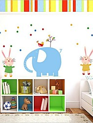 Cartoon Elephant and Rabbit Wall Sticker