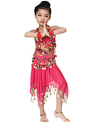 Dancewear Chiffon with Coin Belly Dance Outfit Top and Belts and Skirt For Children More Colors