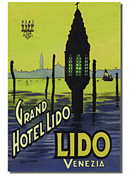 Printed Canvas Art Vintage Grand Hotel Lido by Vintage Apple Collection with Stretched Frame
