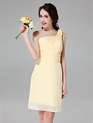 Sheath / Column One Shoulder Knee Length Chiffon Bridesmaid Dress with Flower(s) Side Draping Ruching by LAN TING BRIDE®