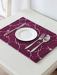 Purple Polyester Rectangular Placemats