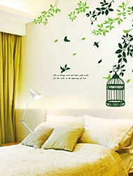 Green Leaves and Birdcage Wall Sticker