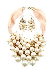Fashion Alloy / Vermeil mit Perlenschmuck Sets einschließlich Ohrringe, Halskette