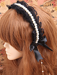Lolita Jewelry Gothic Lolita Headwear Lolita White / Black Lolita Accessories Headpiece Lace For Women Lace / Artificial Gemstones