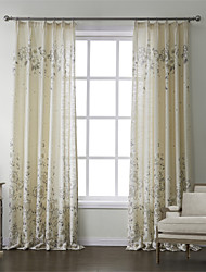 (Two Panels) Country Print Linen Floral Energy Saving Curtain