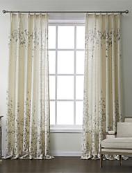 (Deux panneaux) pays linge d'impression économie d'énergie floral rideau