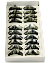 Longer Darker Thicker Curved Version Handmade Black Fiber Lashes False Eyelashes 1028#(10 Pairs Per Box)