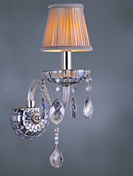 Artisitc Wall Light with Fabric Shade Water Blue Crystal Chandelier Feature