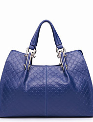Nucelle Cow Leather Royal Blue Arygle Dual Use Tote