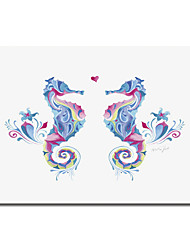 Printed Canvas Art Abstract Sea Horses in Love by Green Girl Canvas with Stretched Frame