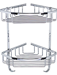 "Bathroom Shelf Chrome Wall Mounted 290 x 210 x 370mm (11.5 x 8.3 x 14.6"") Stainless Steel Contemporary"