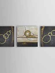 Hand-painted Abstract Oil Painting with Stretched Frame- Set of 3